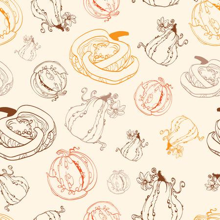 Vector Vintage Thanksgiving Pumpkins Drawing Seamless Pattern graphic design