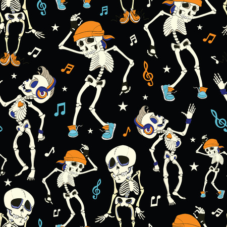 tanzen cartoon: Vektor-Tanzen-Skelett-Partei Halloween-nahtloses Muster. Musik-Disco. Lustige Kopfhörer Grafik-Design- Illustration