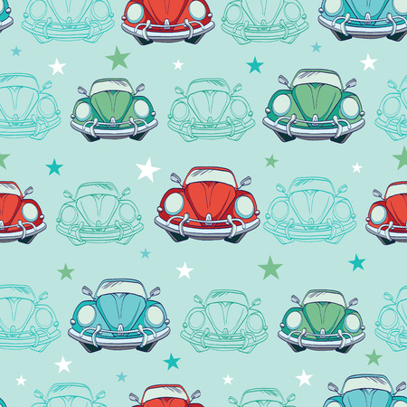 Vector Colorful Vintage Cars Seamless Pattern. Funny Headlights. Auto Repair graphic design