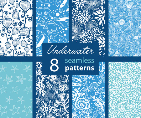 stella marina: 8 Set Vector Underwater Life Seamless Pattern graphic design Vettoriali