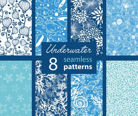 stella marina: 8 Set Vector Underwater Life Seamless Pattern graphic design Vettoriali