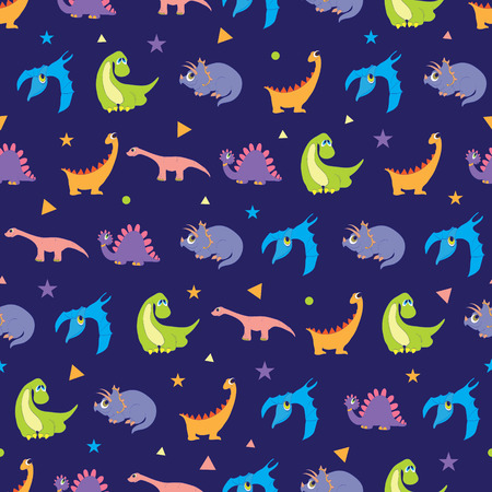 Vector Colorful Dinosaurs Rows Seamless Pattern. Vibrant Stegosaurus, Cute Pterodactyl, Purple Triceratops graphic design