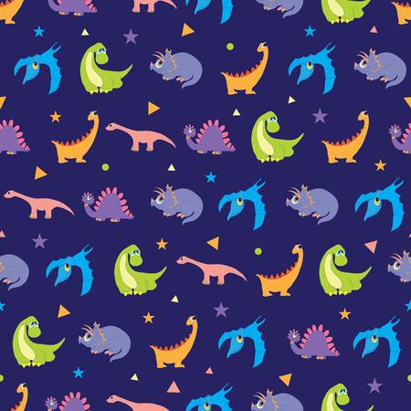 cuerno de la abundancia: Vector dinosaurios coloridos filas sin fisuras patrón. Vibrante Stegosaurus, lindo Pterodactyl, diseño gráfico púrpura Triceratops