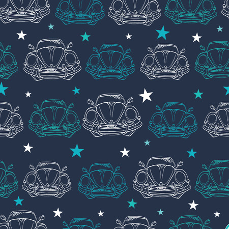 Vector Dark Blue Vintage Cars Stars Drawing Seamless Pattern. Lineart Old Car. Front Bumper View graphic design