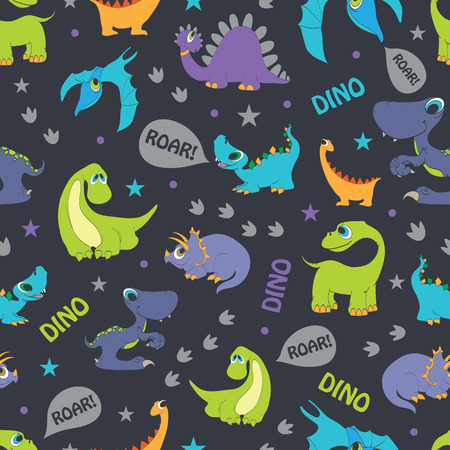 Vector Dinosaurs Roaring Seamless Pattern. Cutest Pterodactyl, Funny Triceratops, Stegosaurus graphic design