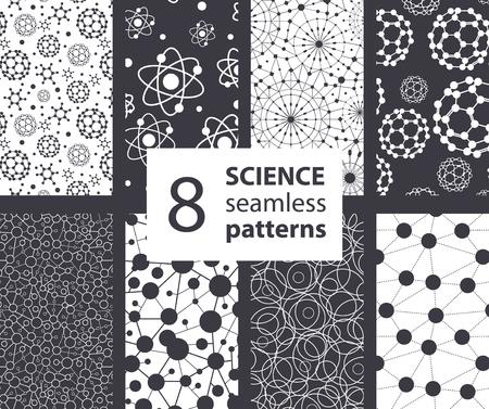 Vector Ciencia Moléculas Texturas 8 Set Seamless Patterns. Diseño gráfico Átomos Fullerene Ciencia Ilustración de vector