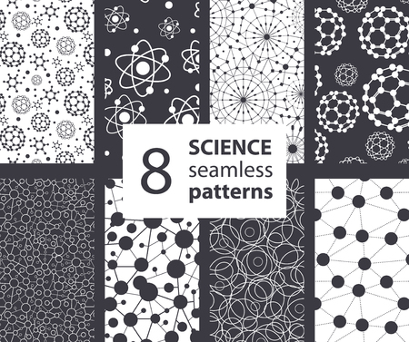 Vector Science Molecules Textures 8 Set Seamless Patterns. Atoms Fullerene Science graphic design