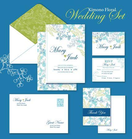Kimono Floral Hochzeit Einladung Set. danke Karte, umhüllen Grafikdesign