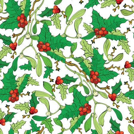 Patrón Vector muérdago bayas del acebo sin fisuras. Bayas rojas. Diseño gráfico verde Leavs Foto de archivo - 45242497