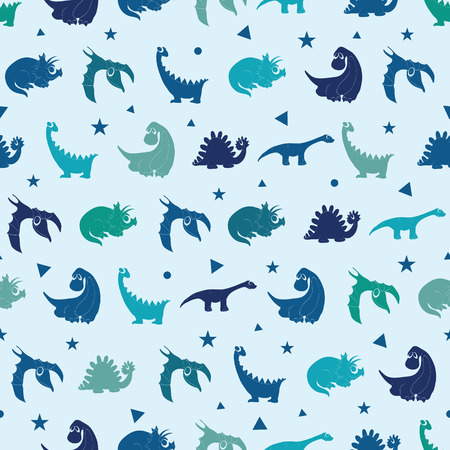 Vector Blue Dinosaurs Silhouettes Seamless Pattern. Cute Baby Tyrannosaurus, Playful Stegosaurus graphic design