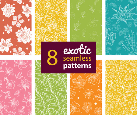 Vector Exotic Flowers Eight Set Seamless Patterns. Succulent Cactus. Hawaiian Hibiscus graphic design