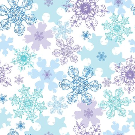 Vector Blue Purple Detailed Snowflakes Holiday Seamless Pattern graphic design Ilustração