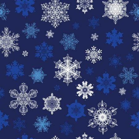Vector Dark Blue White Snowflakes Winter Holidays Seamless Pattern graphic design Ilustração