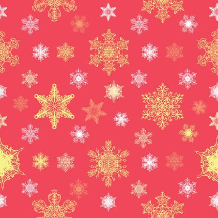 Vector Ornate Christmas Snowflakes Seamless Pattern graphic design