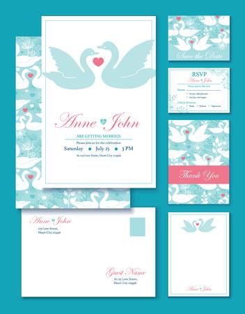 結婚式の招待状ベクトル白鳥を設定します。RSVP、お礼状、封筒のグラフィック デザイン