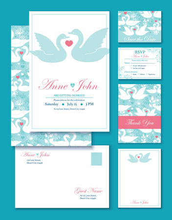 swan: Vector Swans Wedding Invitation Set. RSVP, Thank You Card, Envelop graphic design
