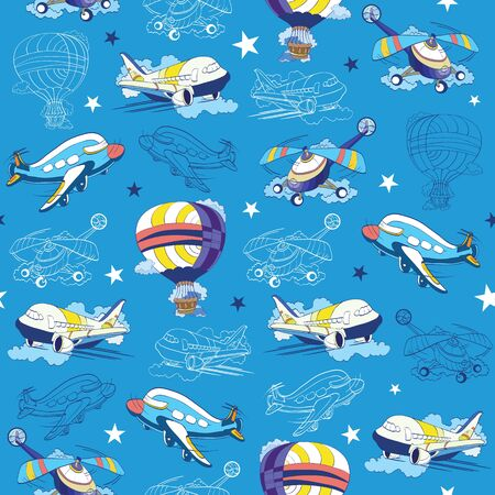Vector Transport Airplane Helicopter Seamless Pattern. Hot Air Baloon. Sky Lineart graphic design