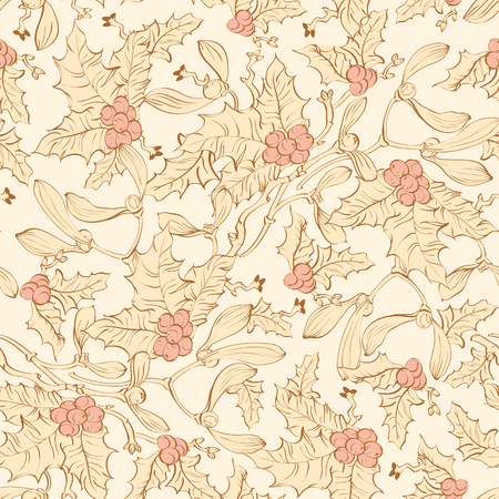 pale yellow: Vector Vintage Mistletoe Holly Berries Seamless Pattern. Yellow Pink Sienna Brown graphic design