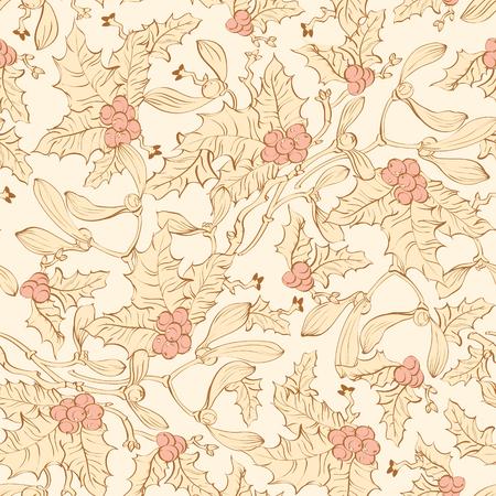 Vector Vintage Mistletoe Holly Berries Seamless Pattern. Yellow Pink Sienna Brown graphic design