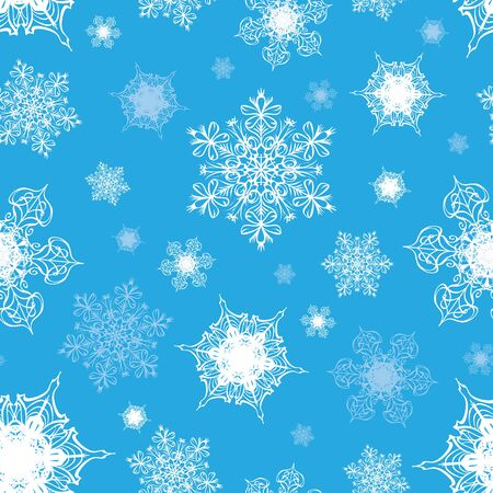 Vector Azure Blue White Ornate Snowflakes Seamless Pattern graphic design
