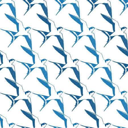 Vector Blue White Swallows Birds Geometric Seamless Pattern graphic design 向量圖像