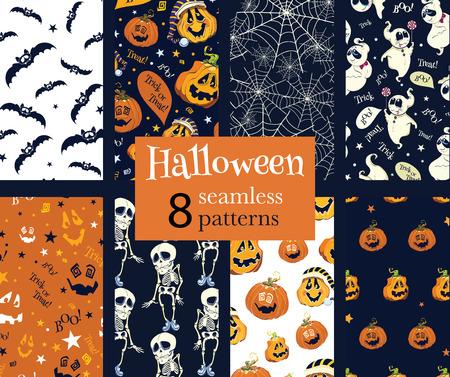 Vector Fun Helloween Pumpkins Skeleton Ghost Nine Set Seamless Pattern. Isla Vista California. Dancing spirits graphic design Vettoriali