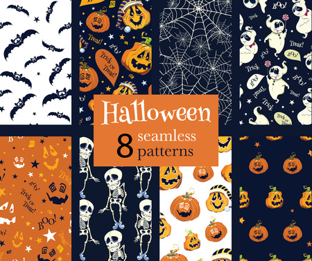 skeleton cartoon: Vector Fun Helloween Pumpkins Skeleton Ghost Nine Set Seamless Pattern. Isla Vista California. Dancing spirits graphic design Illustration