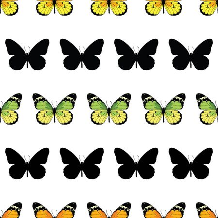 Vector Monarch Butterfly Stripes Seamless Pattern graphic design Illustration
