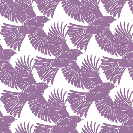Vector Purple Bird Silhouettes Diagonal Seamless Pattern graphic design Illustration