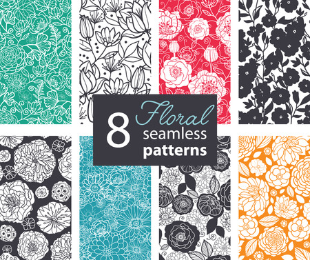 Vector Black White Color Flowers 8 Set Seamless Pattern. Poppy, peony graphic design Vettoriali