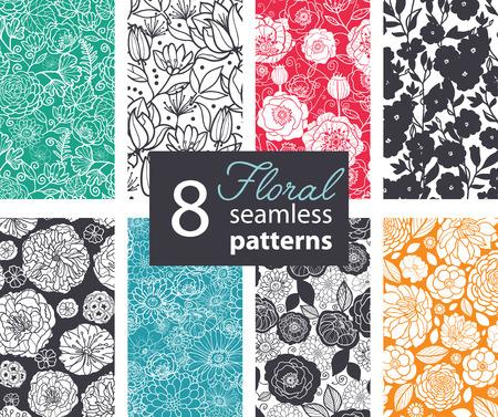 patrones de flores: Vector Negro Blanco Color de las flores 8 Set sin patrón. Amapola, diseño gráfico peonía