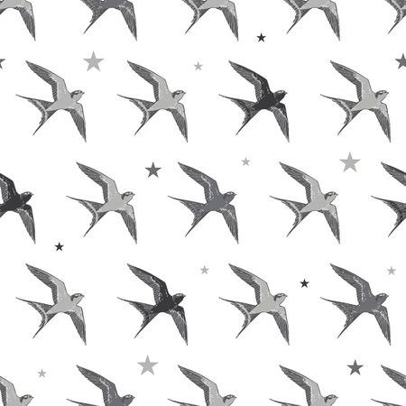 swallows: Vector Flying Swallows Birds Diagonal Seamless Pattern graphic design