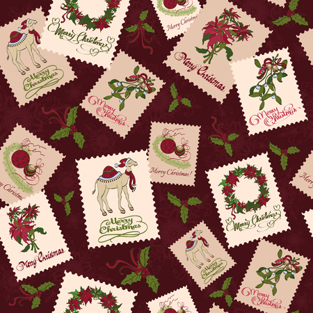 camel post: Vector Vintage Christmas Stamps Seamless Pattern. Mistletoe wreaths. Tinsel graphic design