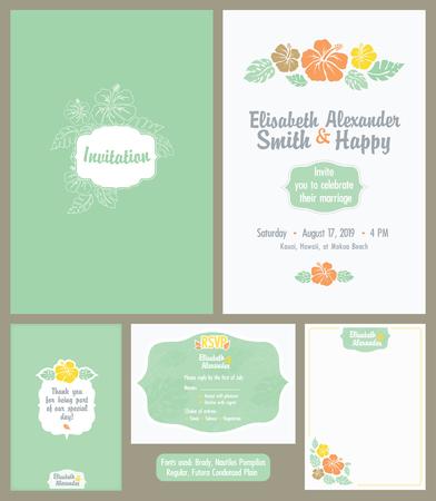 hitched: Vector Hawaiian Wedding Invitation Set. Light Green. Elisabeth Alexander graphic design. Fonts used - Brody, Nautilus Pompilius