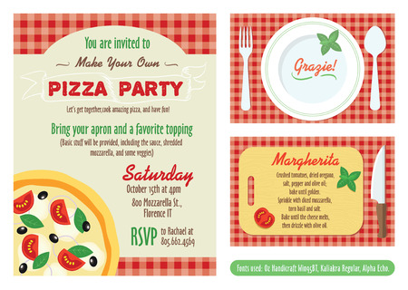 Vector Make Your Own Pizza Party Invitation Set. Recipe Card. Grazie Thank You graphic design. Fonts used - Oz Handicraft Win95BT, Kaliakra Regular, Alpha Echo.