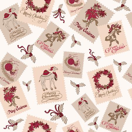 Vector Vintage Christmas Stams Light Seamless Pattern. Poinsettias Wreaths. Camel Mistletoe graphic design