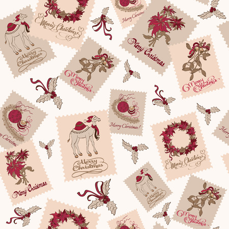 evergreen wreaths: Vector Vintage Christmas Stams Light Seamless Pattern. Poinsettias Wreaths. Camel Mistletoe graphic design