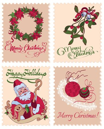 sinterklaas: Vintage Christmas Stamps Mistletoe Wreath Greetings Seamless Pattern