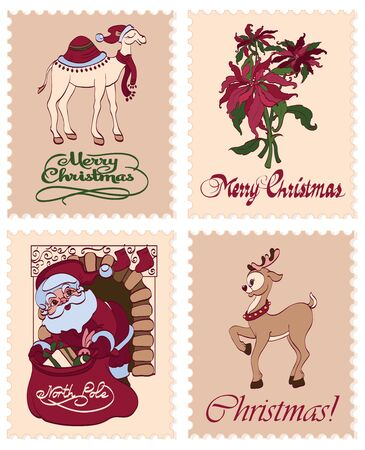 sinterklaas: Vintage Christmas Stamps Reindeer Santa Greetings Seamless Pattern