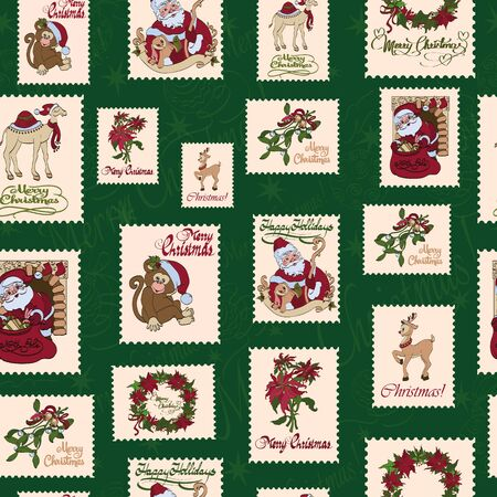 evergreen wreaths: Vintage Holiday Stamps Green Christmas Seamless Pattern. Saint Nicholas. Rudolph the Deer graphic design Illustration