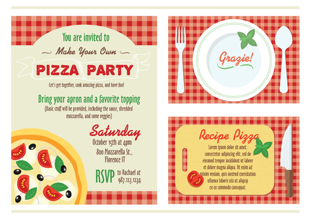 recipe card: Vector Make Your Own Pizza Party Invitation Set. Recipe Card. Grazie Thank You graphic design