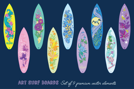Decorative Surf Boards Set 9 Elements Seamless Pattern graphic design