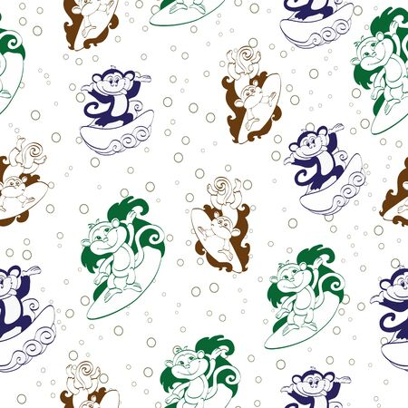 Vector Blue Green Brown Surfing Monkeys Seamless Pattern. Funnuy Jumping graphic design