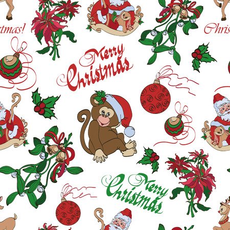 sinterklaas: Vector Merry Christmas Santa Mistletoe Seamless Pattern graphic design
