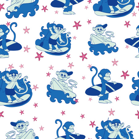 swell: Vector Fun Surfing Monkeys Starfish Seamless Pattern. SUP Boogie Board graphic design