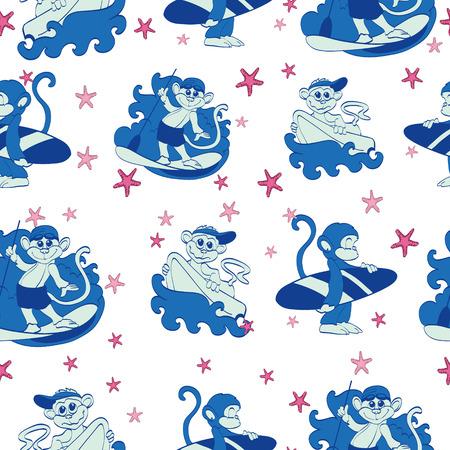 Vector Fun Surfing Monkeys Starfish Seamless Pattern. SUP Boogie Board graphic design