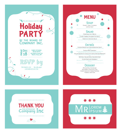 cadet blue: Vector Winter Holiday Party Invitation Set. Light blue. Red. Festive. Menu. Thank you card. Place card. graphic design