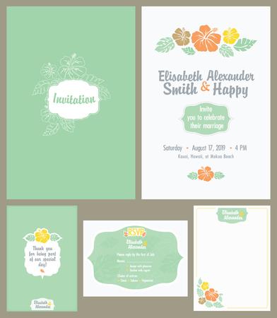 hitched: Vector Hawaiian Wedding Invitation Set. Light Green. Elisabeth Alexander graphic design