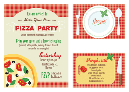 Vector Make Your Own Pizza Party Invitation Set. Recipe Card. Grazie Thank You graphic design