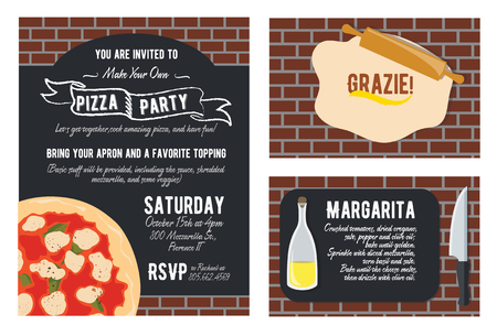 recipe card: Vector Fun Make Your Own Pizza Party Invitation Set. Recipe Card. Knife. Oil. Grazie Thank You. Graphic design Stock Photo